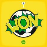 Comic art - won in football. Comic bang with lettering - WON in color of national flag of Brazil with soccer ball. Vector eps 10 stock illustration