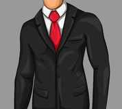Comic Attractive Business Man. Wearing black suit white shirt and red tie vector illustration Stock Photography