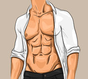 Comic Attractive Young Man. With beautiful muscular body wearing unbuttoned white shirt and trousers vector illustration Royalty Free Stock Photo