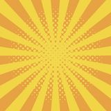 Comic background with halftone effect and sunburst. Comic book elements with dots and sunray. Yellow starburst abstract backdrop. vector illustration