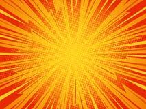 Comic background. Pop art comic background lightning blast halftone dots. Cartoon Vector Illustration on red Stock Image