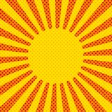 Comic background rays, vector. Yellow and red. Red yellow pop art retro background cartoon lightning blast radiance vector illustration Royalty Free Stock Images