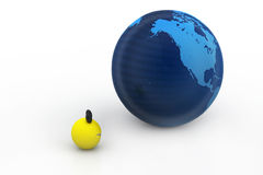 Comic ball and globe Stock Photography