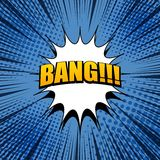 Comic bang expression background. In blue colors with white blot, halftone effects and rays in pop art style. Vector illustration Stock Photos