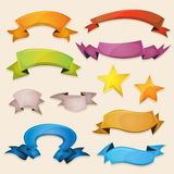 Comic Banners And Ribbons For Ui Game. Illustration of a set of various design fresh colorful banners, ribbons, swirls, awards and scrolls to use for example as vector illustration