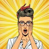 Comic pretty surprised girl. Comic beautiful surprised woman with eyeglasses red bow and dress on yellow radial background vector illustration stock illustration