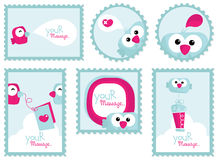 Comic Bird Stickers. Set of Funny Bird Stickers or Stamps Stock Image