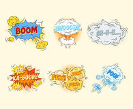 Comic blank text speech bubbles in pop art style Royalty Free Stock Images