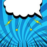 Comic blue concept. With blank white speech bubble yellow stars lightnings halftone radial and rays humor effects. Vector illustration Stock Photo