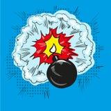 Comic bomb explosion pop art retro style halftone illustration. Vector Stock Images