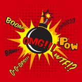 Comic bomb explosion poster Royalty Free Stock Photography