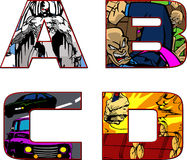 Comic book alphabet letters - a,b,c,d Stock Image