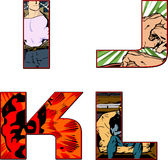 Comic book alphabet letters - i,j,k,l Royalty Free Stock Photography