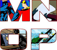 Comic book alphabet letters - m,n,o,p Stock Image