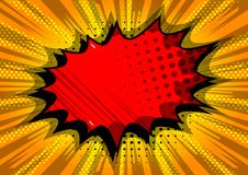 Comic book background with big colorful explosion bubble. stock illustration