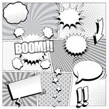 Comic book background in black and white colors Royalty Free Stock Photography