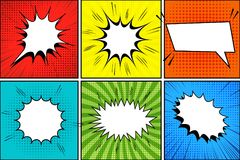 Comic book background. With blank white speech bubbles sound halftone radial and rays effects in pop-art style. Vector illustration Stock Photography