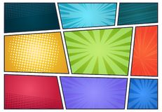 Comic book background. Pop art retro page style, halftone cartoon effect, comics frames cover. Vector comic radial