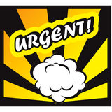 Comic book background Urgent! sign Card Pop Art office stamp. With the word urgent urgent on white background Stock Image