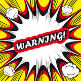 Comic book background Warning! sign Card Pop Art. Comic book background Warning! sign Card Pop Aurgent on white backgroundrt Stock Image