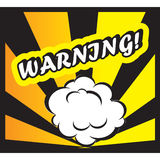 Comic book background Warning! sign Card Pop Art. Urgent on white background Stock Images