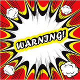 Comic book background Warning! sign Card Pop Art. Funny Comic book background Warning! sign Card Pop Art Royalty Free Stock Image