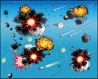 Comic book battle. Comic book explosions isolated over blue background. Additional  format Illustrator 8 eps Royalty Free Stock Photography