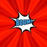Comic book bright red background. With Boom blue word, white speech bubble, halftone and radial effects. Vector illustration Stock Images