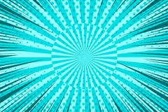 Comic book bright turquoise background. With rays dotted and radial effects. Vector illustration Stock Image