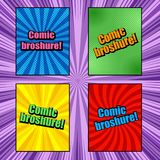 Comic book brochures. With different humor effects on purple radial background in pop-art style. Blank templates. Vector illustration Stock Photo