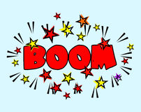 Comic book Cartoon - boom explosion. Splash with Stars Stock Image