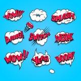Comic book cartoon explosion set boom bang Stock Photography