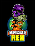 Comic book, cartoon style tyrannosaurus in sunglasses and with fifties style haircut. Image Stock Images