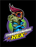 Comic book, cartoon style tyrannosaurus in sunglasses and with fifties style haircut. Image Royalty Free Stock Images
