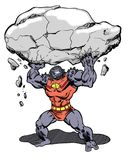 Comic Book Character Grock the alien brute lifting a boulder Stock Image