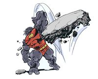 Comic Book Character Grock the Alien Brute throwing a boulder. Rock throwing alien monster brute royalty free illustration