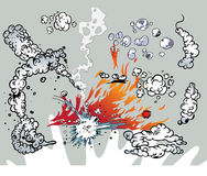 Comic book clouds and flames Stock Image