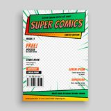 Comic book cover layout template. Illustration vector illustration