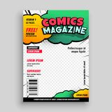 Comic book cover page template design stock illustration