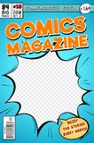 Comic book cover. Retro cartoon comics magazine. Vector template in pop art style. Magazine cartoon book, commemorative edition illustration royalty free illustration