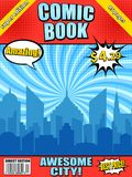 Comic book cover template. With blue city silhouette white speech bubbles barcode radial halftone effects and different inscriptions. Vector illustration royalty free illustration
