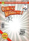 Comic Book Cover Template. Illustration of a cartoon editable comic book cover template, with super hero character flying, titles and subtitles to customize, and stock illustration
