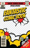 Comic book cover vector template. Comic book poster, illustration of magazine page editable stock illustration