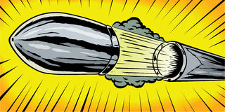 Bullet or Cannon shell. Comic book drawing of a bullet or cannon shell Royalty Free Stock Photography