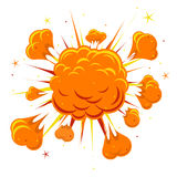 Comic book explosion. Explosion boom, orange cloud, smoke and explode Vector illustration Royalty Free Stock Photo