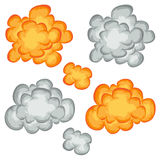 Comic Book Explosion, Clouds And Smoke Set. Illustration of a set of comic book explosion, blast and cartoon fire bomb, bang and exploding symbols Stock Images