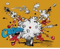 Comic book explosion - crash!. Additional  format Illustrator 8 eps Stock Image