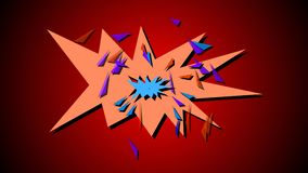 Comic book explosion. 3d illustration of Comic book explosion on a red backdrop Stock Photos