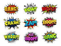 Comic book explosion sound effect bubbles, halftone print texture imitation. Comic book explosion sound effect bubbles, vector icons set, halftone print texture Royalty Free Stock Images