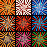 Comic book explosion superhero pop art style colored radial lines background. Royalty Free Stock Images